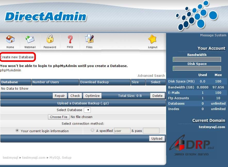 Create new Database